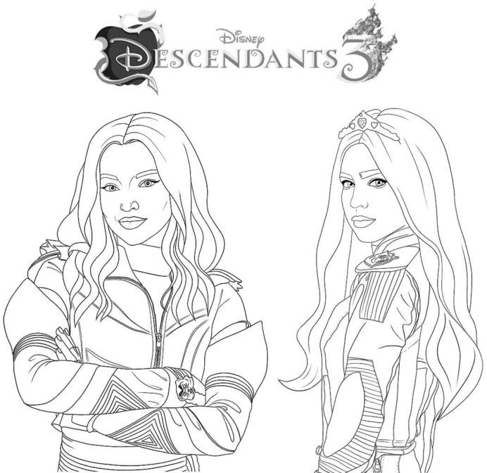 descendants colouring coloring descendents mal and evie fx projector adultcrafts scanned coloring pages Descendants Coloring Page