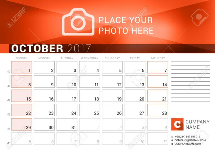desk calendar for year october vector design print template royalty free vectors and coloring pages Free Printable 2017 Desk Calendar