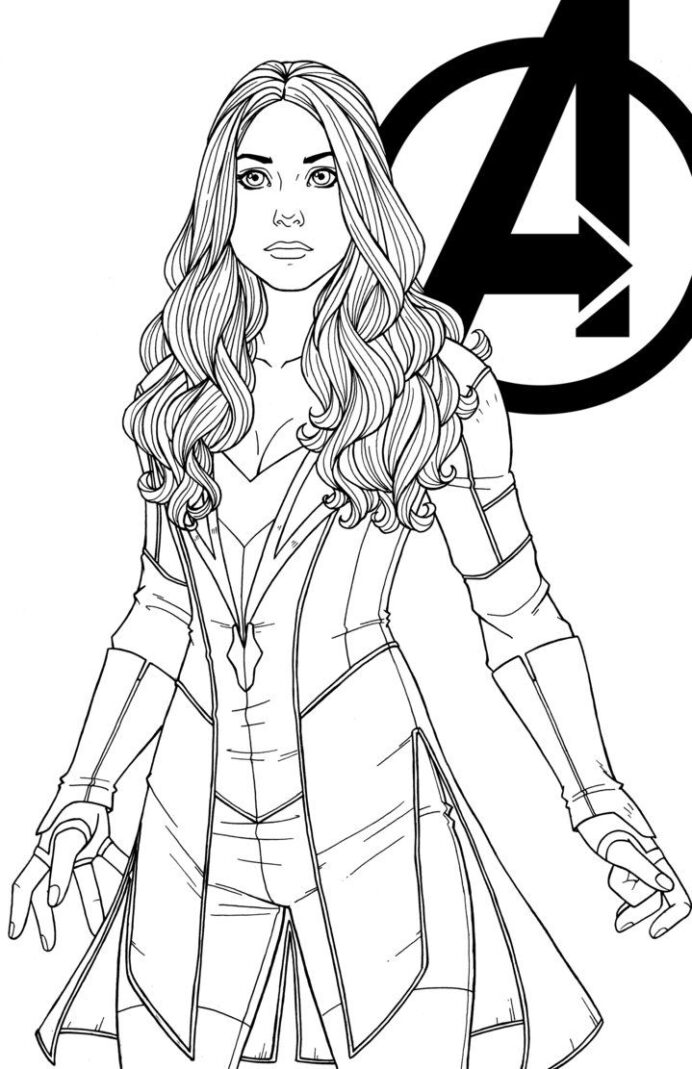 did this for fun had to loved it from first sight wanda was the stand out in avengers coloring pages Captain Marvel Coloring Page