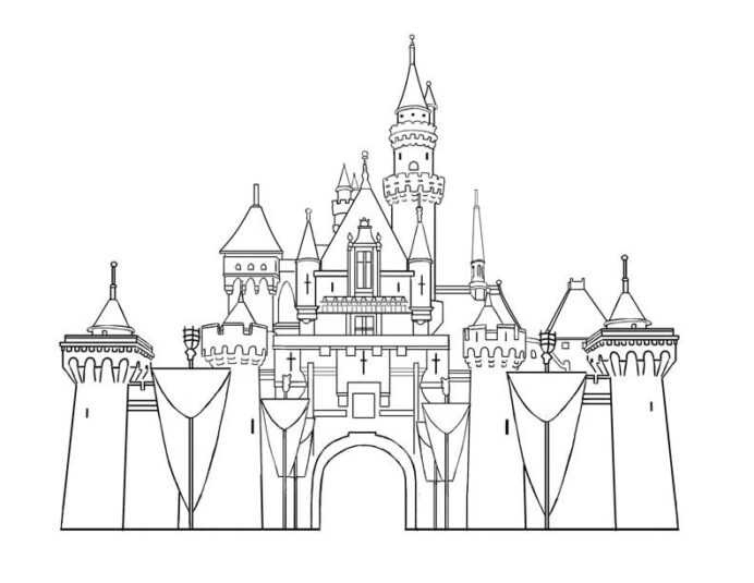 disney castle coloring drawing spring starts halloween sign the absence of color purple coloring pages Coloring Page Castle
