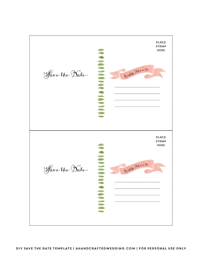 diy save the date postcard free printable mountain modern life templates per back for coloring pages Free Printable Save The Date Postcard Templates