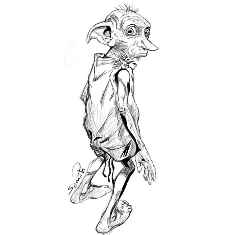 dobby coloring color by pumpkin pie design of mehandi on hands william taft drawing coloring pages Dobby Coloring Page