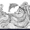 dolphin and waves coloring for children vector kids drawing supplies shoppies to print coloring pages Waves Coloring Page