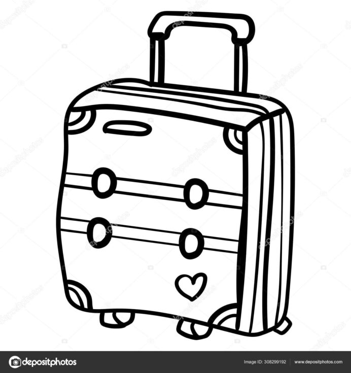 doodle suitcase for travelling around the world coloring or book vector illustration coloring pages Suitcase Coloring Page