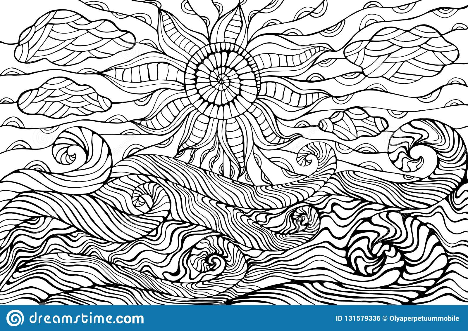 doodle sun clouds and waves coloring for children an stock vector illustration of coloring pages Waves Coloring Page