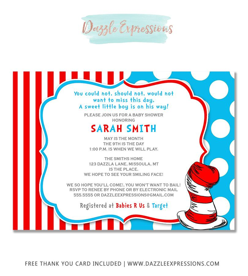 dr seuss inspired baby shower invitation free thank you card includ dazzle expressions coloring pages Dr Seuss Baby Shower Invitations Printable Free
