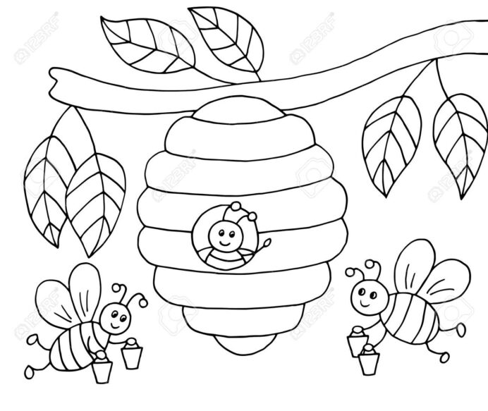 drawn bees with honey and beehive on tree coloring vector illustration royalty free coloring pages Bee Hive Coloring Page