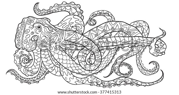 drawn coloring octopus zen stock vector royalty free adult 600w truckcoloring lion sheet coloring pages Octopus Adult Coloring Page
