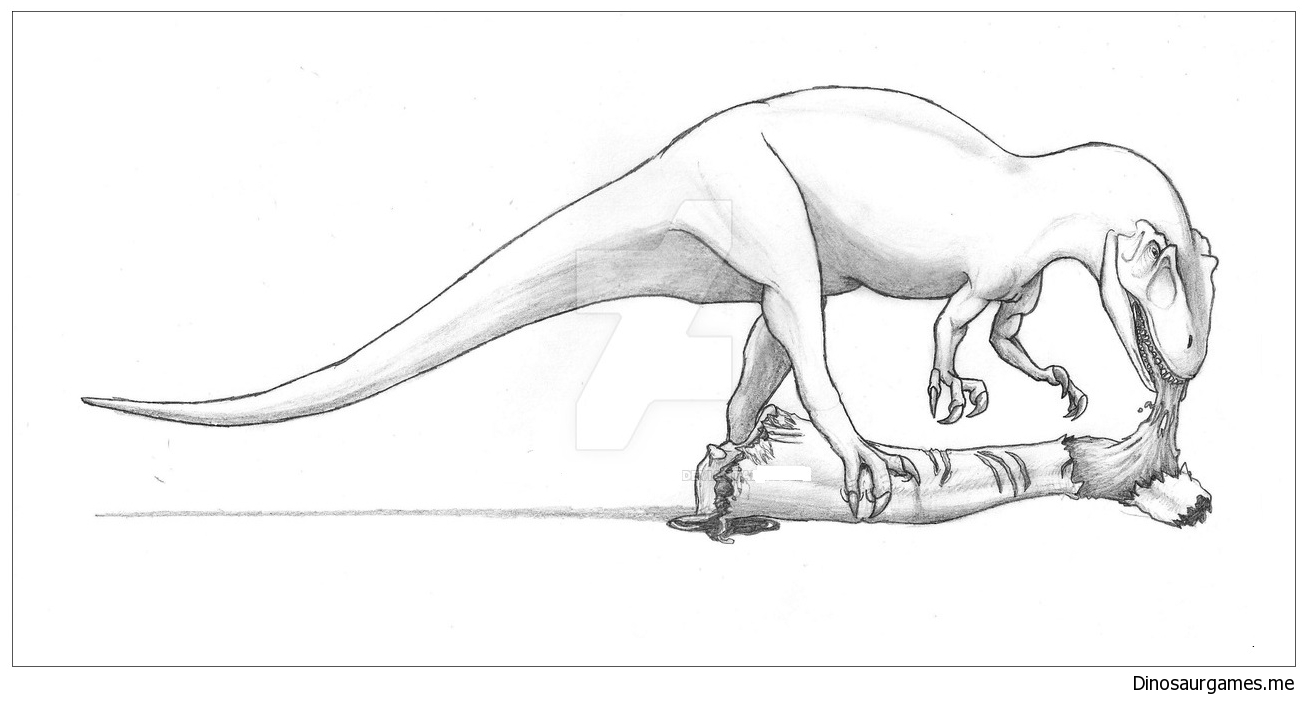 drawn dinosaur allosaurus coloring drawing board with light of autumn leaf man lesson coloring pages Allosaurus Coloring Page