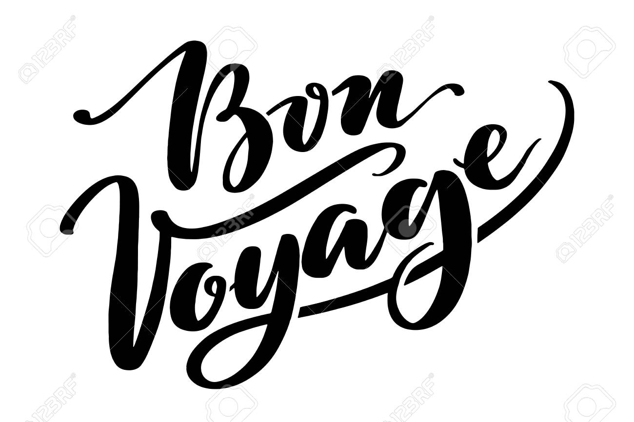 drawn vector lettering bon voyage word by hands isolated illustration handwritten modern coloring pages Free Printable Bon Voyage Cards