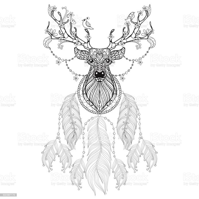 dream catcher background stock photos pictures royalty free images coloring style art coloring pages Dream Catcher Coloring Page