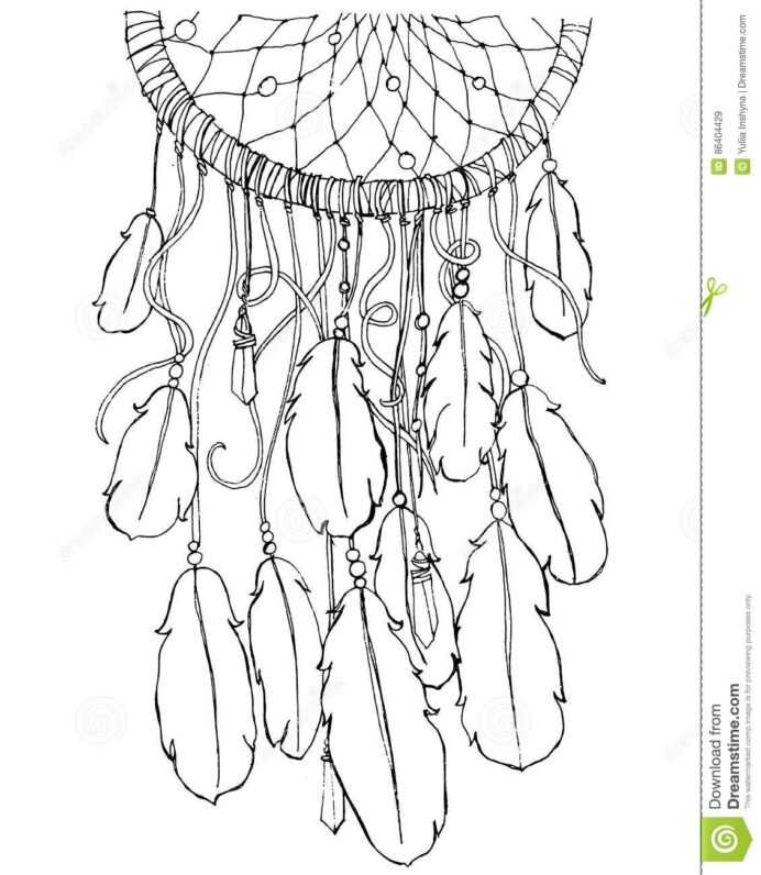 dream catcher coloring stock vector illustration of card black adults color wonder coloring pages Dream Catcher Coloring Page