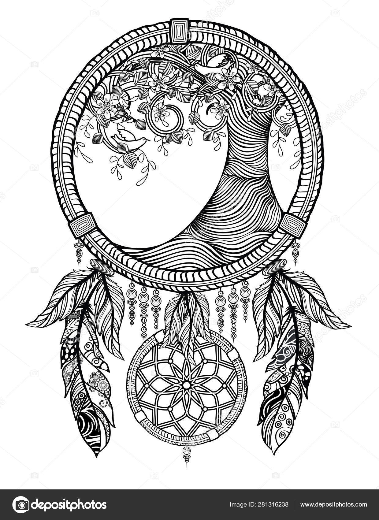 dream catcher tree coloring stock photo by smk0473 depositphotos definition of colour for coloring pages Dream Catcher Coloring Page