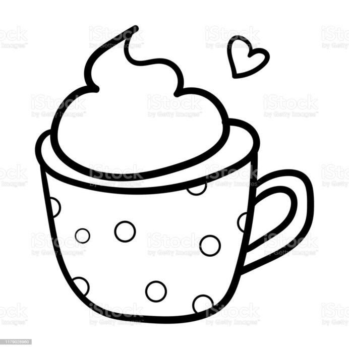 drink in pea mug coloring book contour decorative accessory for comfort the season is coloring pages Coffee Mug Coloring Page
