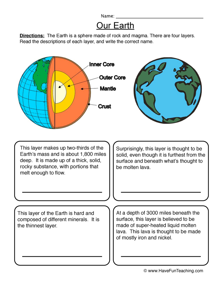 earth layers worksheet have fun teaching free printable of the worksheets periwinkle colo coloring pages Free Printable Layers Of The Earth Worksheets