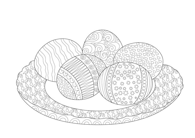 easter eggs in plate coloring stock vector illustration of adults kits things to color coloring pages Plate Coloring Page