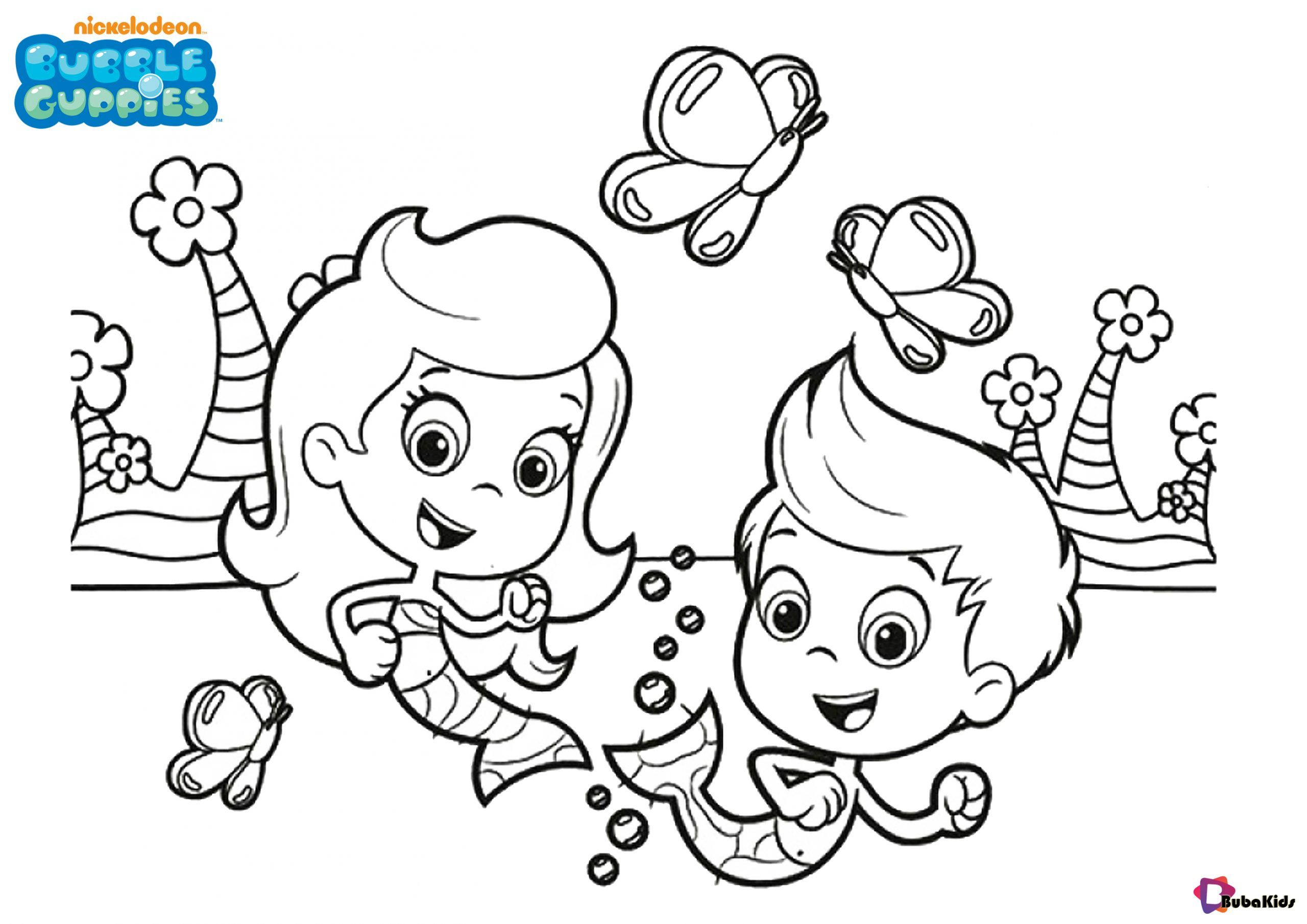 easy and printable bubble guppies colouring for kids collection of co coloring butterfly coloring pages Bubble Guppy Coloring Page