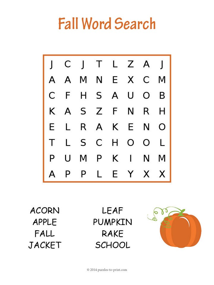 easy fall word search printable puzzles free coloring football color pecils mass in grams coloring pages Free Printable Fall Word Search
