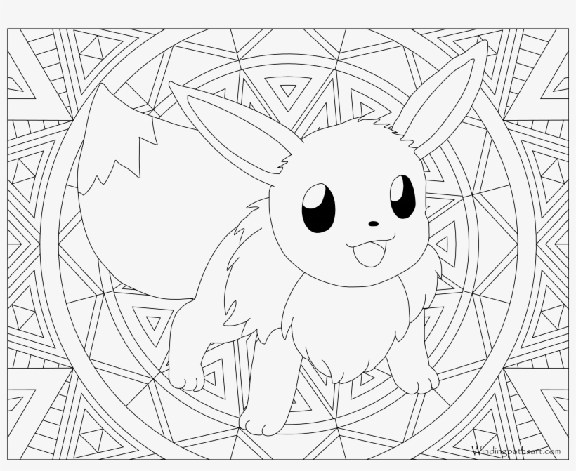 eevee coloring free printable in pokemon colouring evolutions transparent pngkey shamrock coloring pages Eevee Evolutions Coloring Page