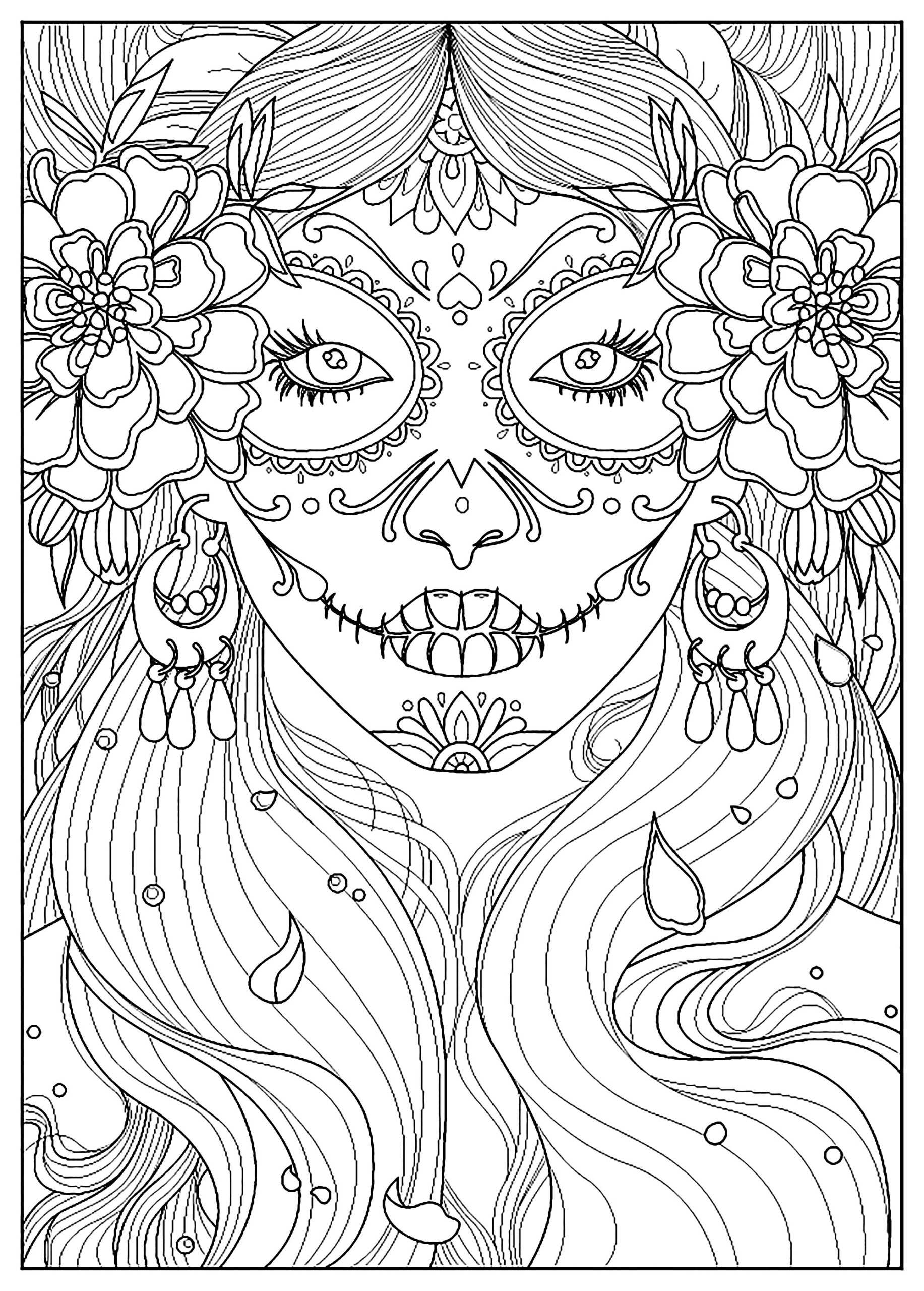 el dia los muertos fishes coloring for adults malbuch fur erwachsene of the purple and coloring pages Day Of The Dead Coloring Page