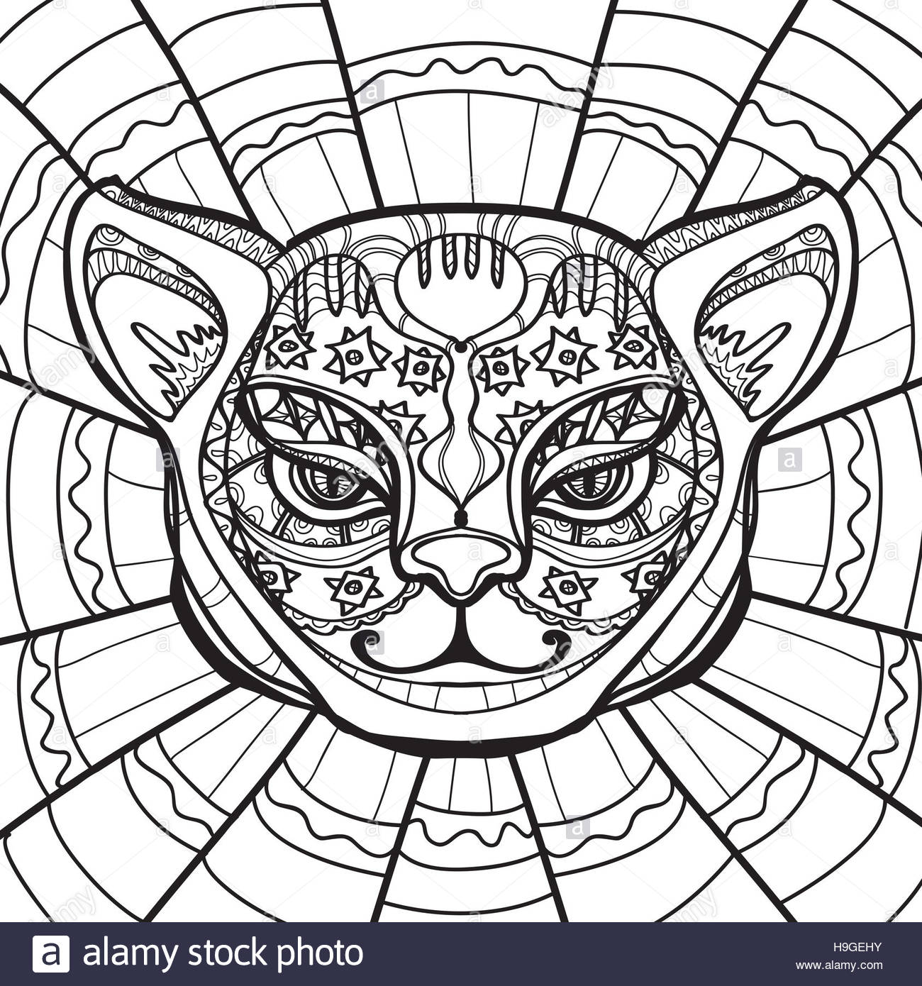 ethnic cat head drawn illustration in zentangle style coloring with from adult stock coloring pages Cat Head Coloring Page