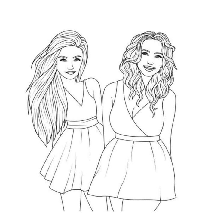 fashion girls coloring free printable for kids winter silhouette watercolor pencil coloring pages Coloring Page Girls