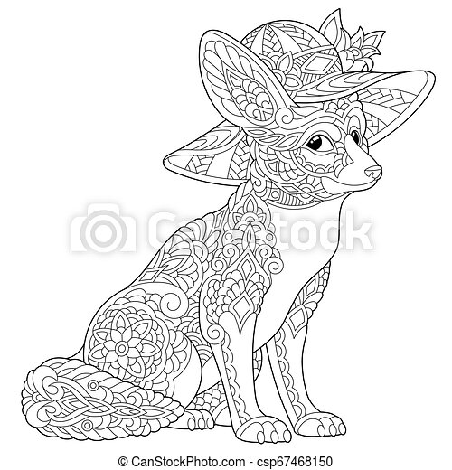 fennec fox coloring book anti stress colouring with canstock clipart vector csp67468150 coloring pages Fennec Fox Coloring Page