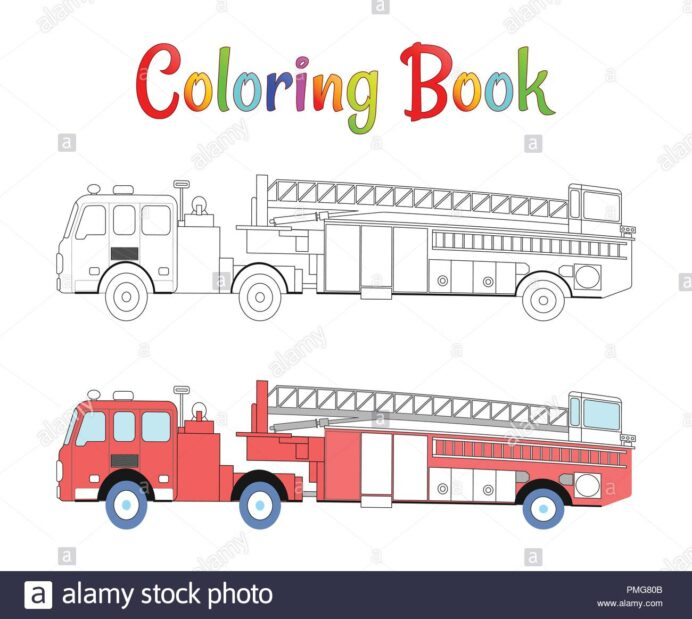 fire truck coloring book vector for kids illustration stock image art pmg80b thanksgiving coloring pages Coloring Page Fire Truck