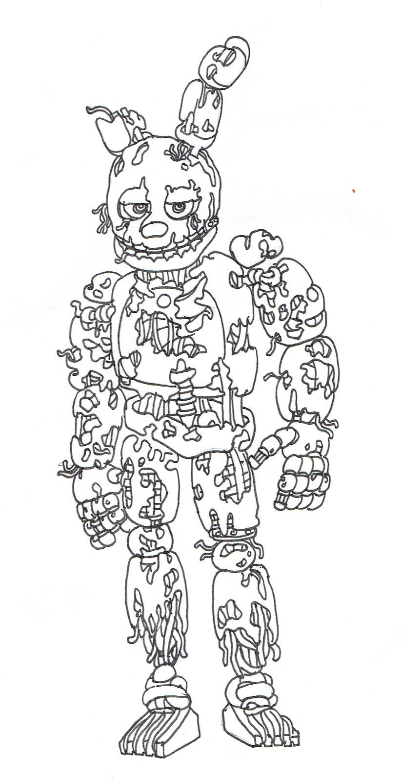 five nights at freddys coloring springtrap free sheets minion fnaf monster dinosaur for coloring pages Springtrap Coloring Page