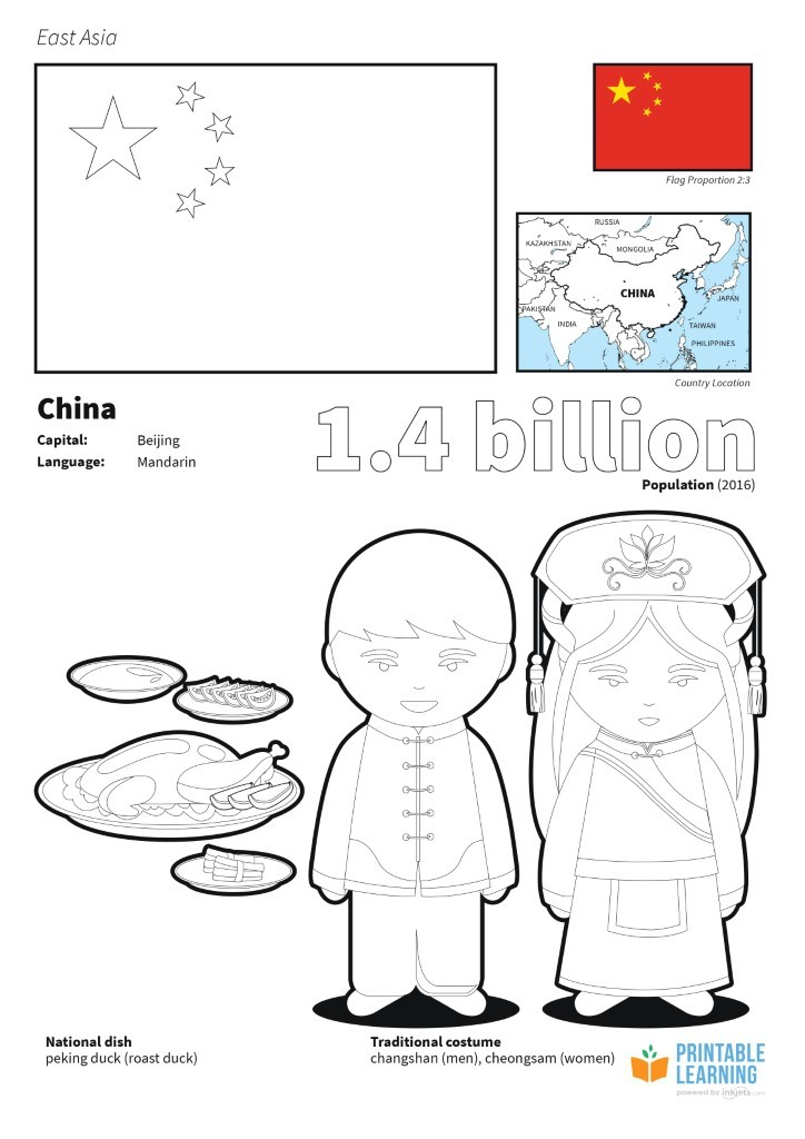 flag of coloring printable learning flags asia by inkjets outline the continents adult coloring pages Flag Of China Coloring Page