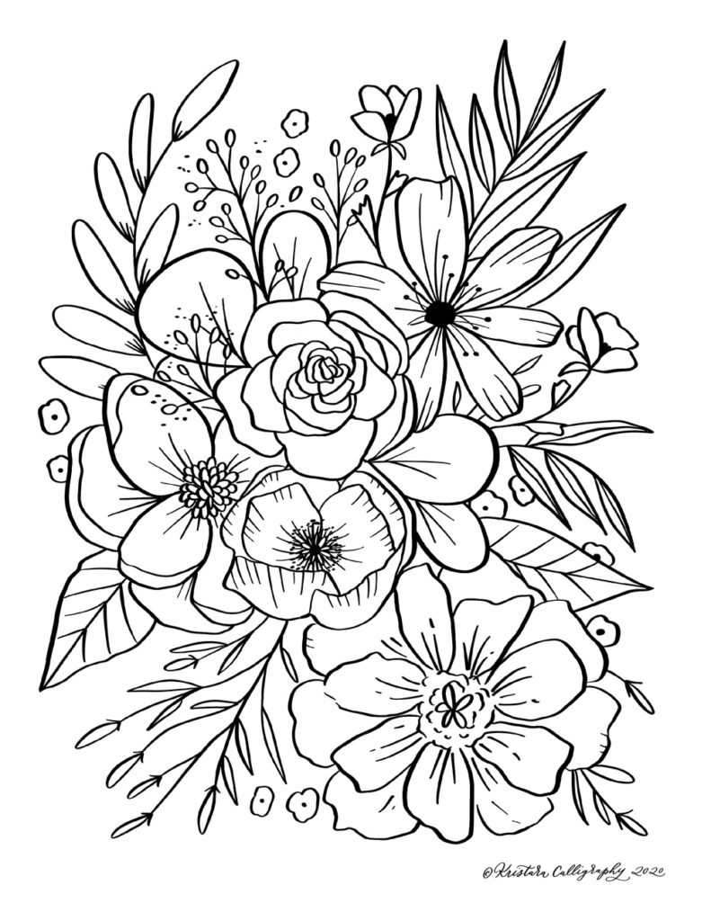 floral coloring kristara florals1 791x1024 for kids food light boards children does coin coloring pages Floral Coloring Page
