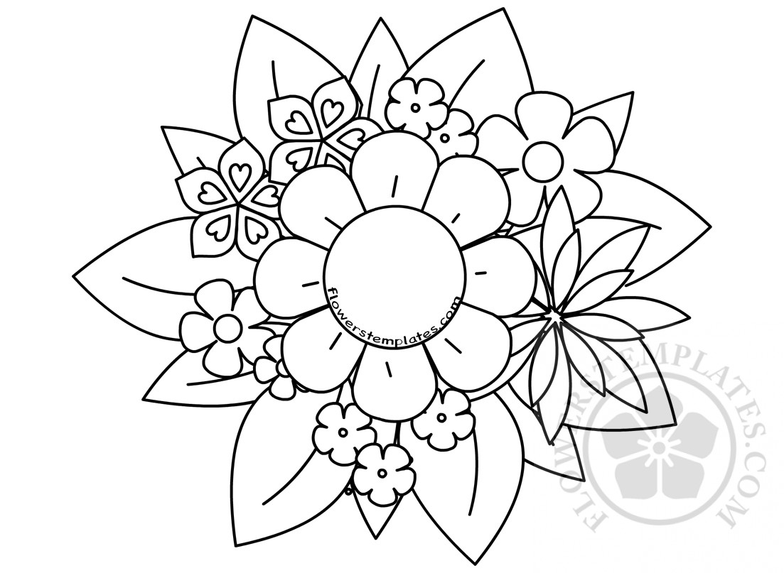flower bouquet coloring mother flowers templates mothers fall busy worksheets french coloring pages Flower Bouquet Coloring Page