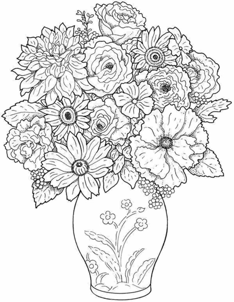 flower bouquet coloring printable wonder of flowers 794x1024 papers for kids color sienna coloring pages Flower Bouquet Coloring Page