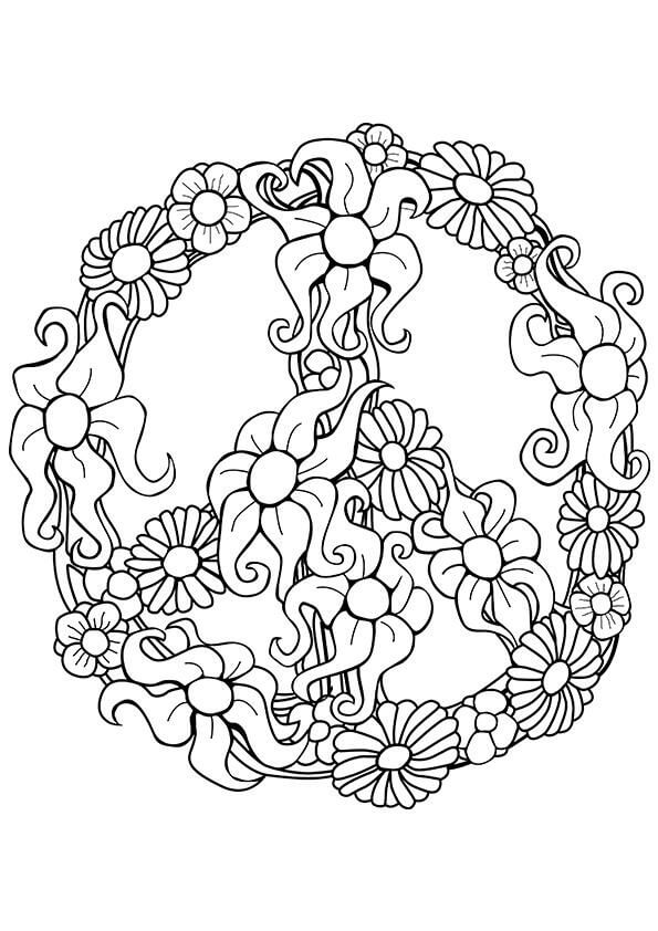 flower peace sign coloring free printable for kids colorable minecraft pictures coloring pages Peace Sign Coloring Page