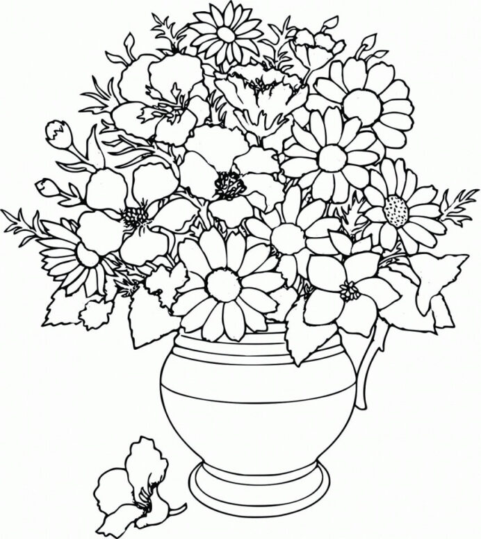flower vase coloring free printable for kids pastel markers thankful color sheet remove coloring pages Vase Coloring Page