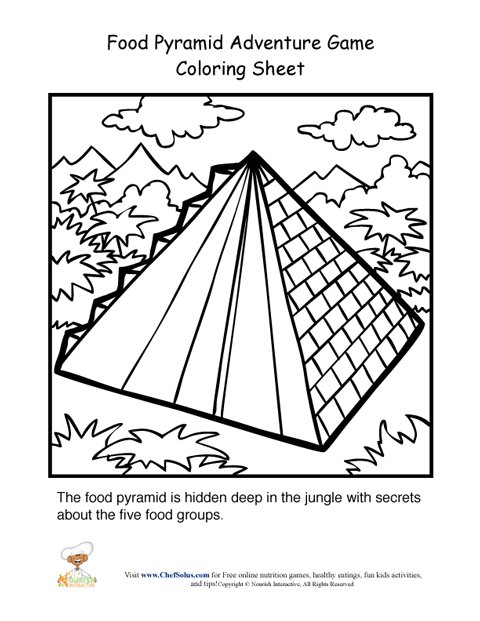 food pyramid adventure game coloring for kids preview en large african paper beads coloring pages Pyramid Coloring Page