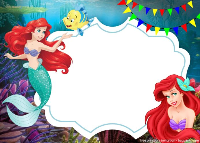 free ariel the little mermaid with photo invitation template printable birthday templates coloring pages Little Mermaid Invitations Free Printable