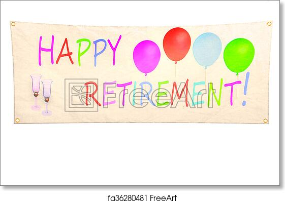 free art print of happy retirement isolated on freeart printable banners home paint party coloring pages Free Printable Retirement Banners