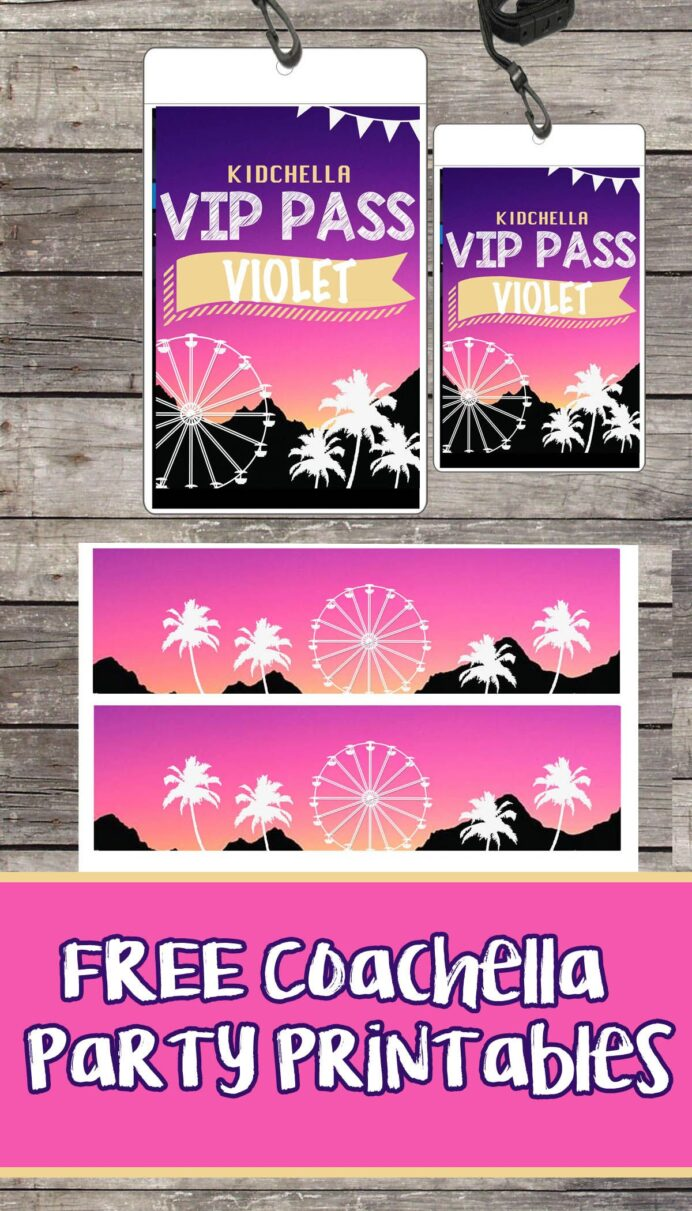 free coachella birthday party printable files vip passes invitations wrist bands theme coloring pages Free Printable Vip Pass Template