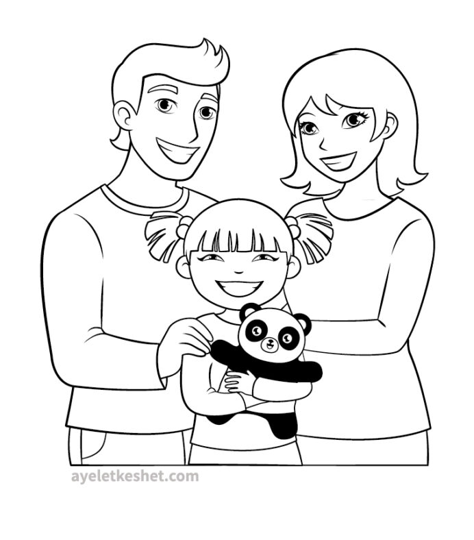 free coloring about family that you can print out for your kids adoption ayelet keshet coloring pages Coloring Page Family
