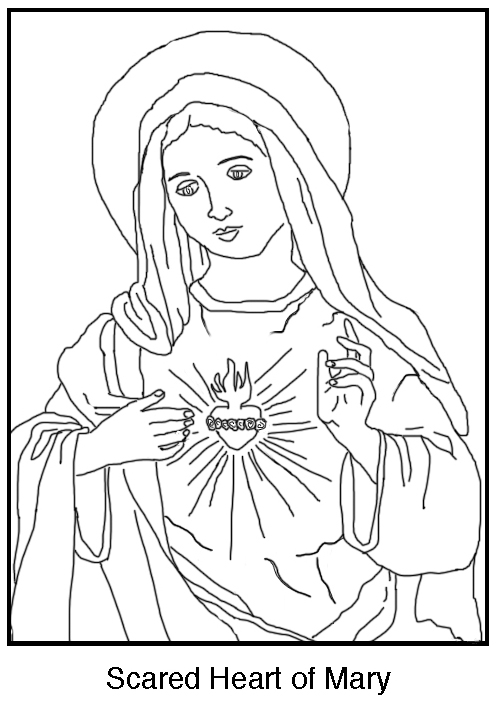 free coloring the immaculate heart of mary schola rosa sacred cursive uppercase working coloring pages Sacred Heart Coloring Page