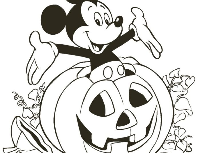 free disney halloween coloring lovebugs and postcards mickey pumpkin1 778x600 themed coloring pages Coloring Page Halloween