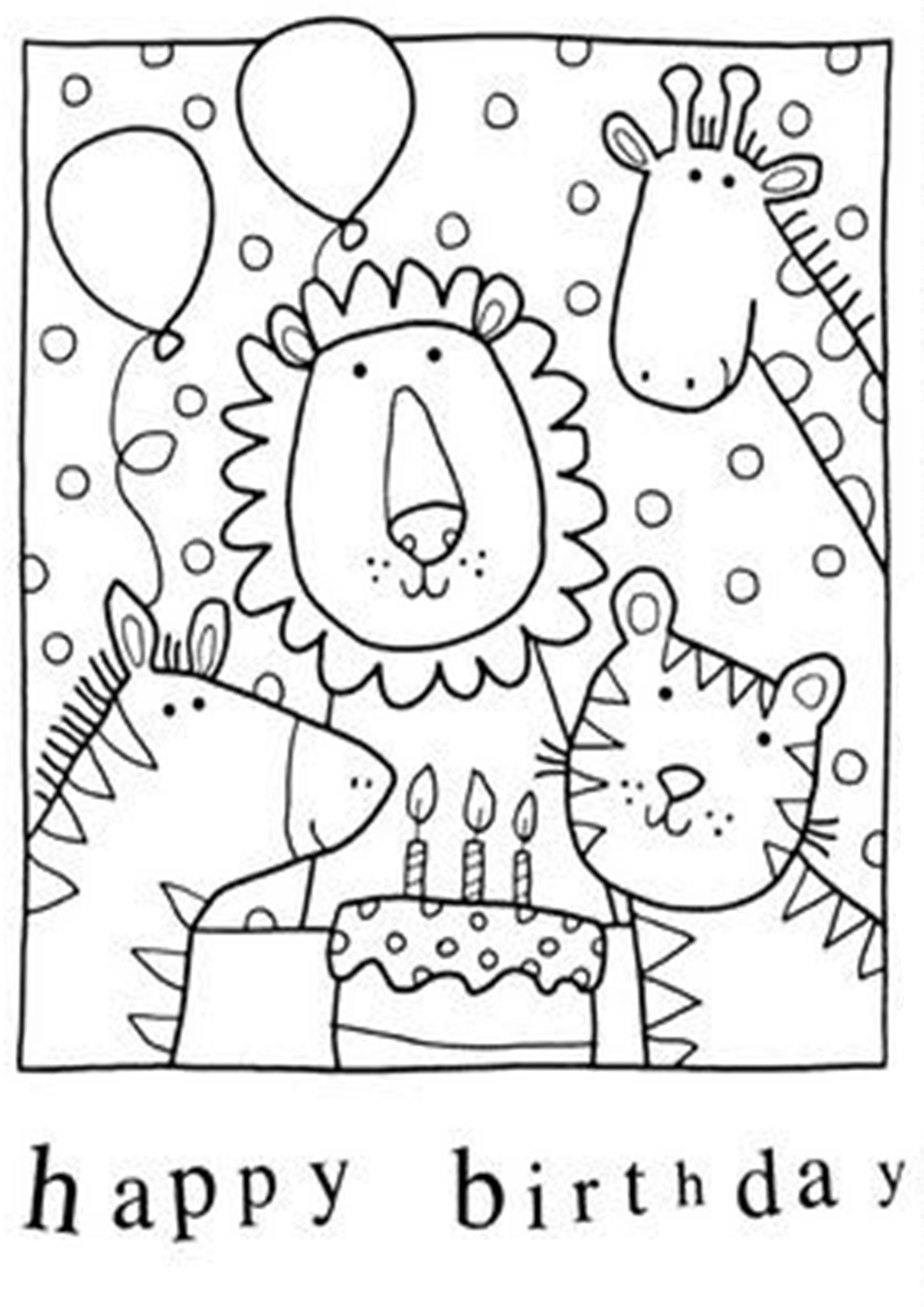 free easy to print happy birthday coloring printable card leaves and play blank dice coloring pages Birthday Card Coloring Page