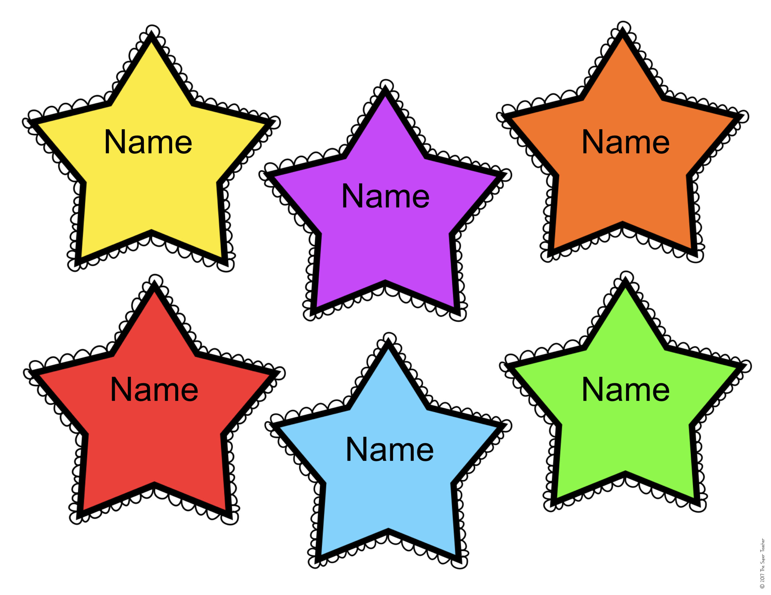 free editable star name tags the super teacher printable for kids sign in stars easter coloring pages Free Printable Name Tags For Kids