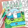 free family fun camping printables directions camper coloring cute jen goode scaled coloring pages Camper Coloring Page
