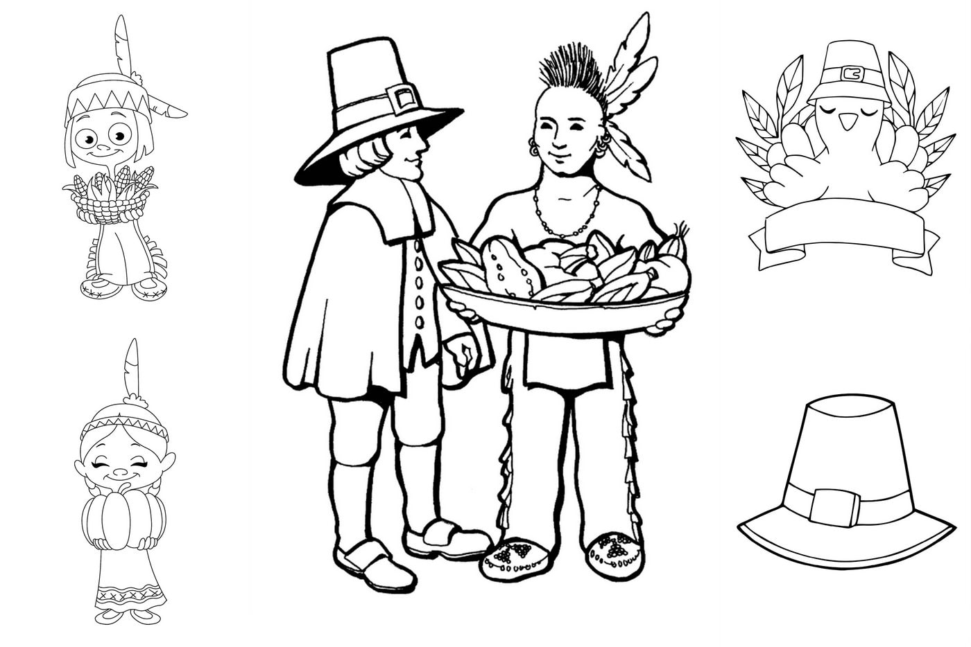 free first thanksgiving coloring with pilgrims and native americans print color fun diy coloring pages First Thanksgiving Coloring Page