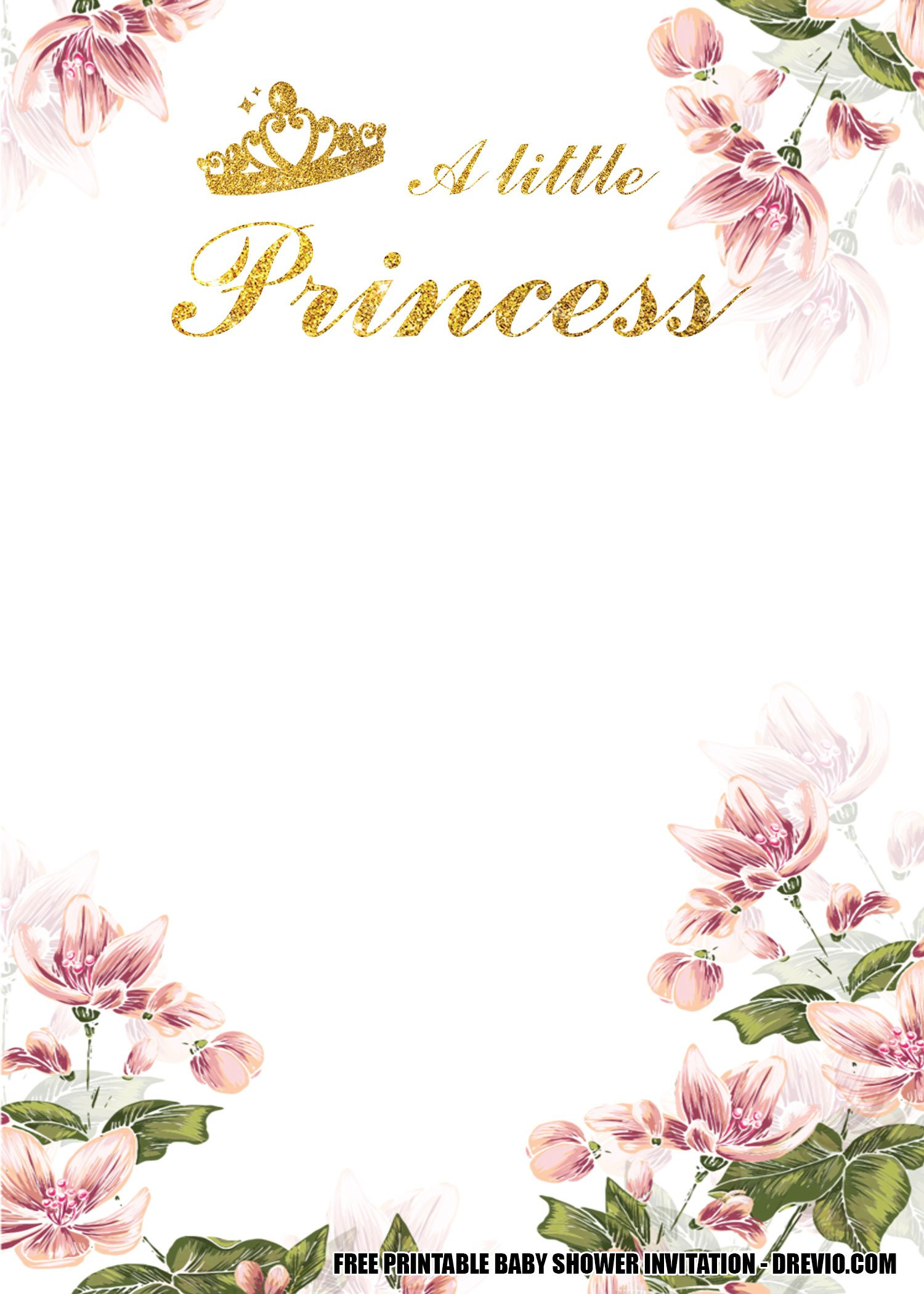 free floral princess baby shower get the beautiful invitation card hundreds printable coloring pages Free Printable Princess Baby Shower Invitations