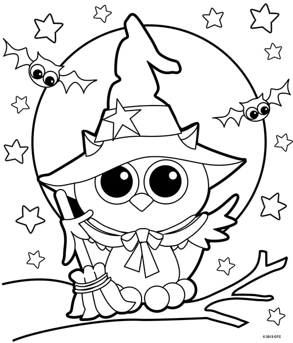 free halloween coloring for adults kids happiness is homemade owl witch color jumble coloring pages Kids Halloween Coloring Page