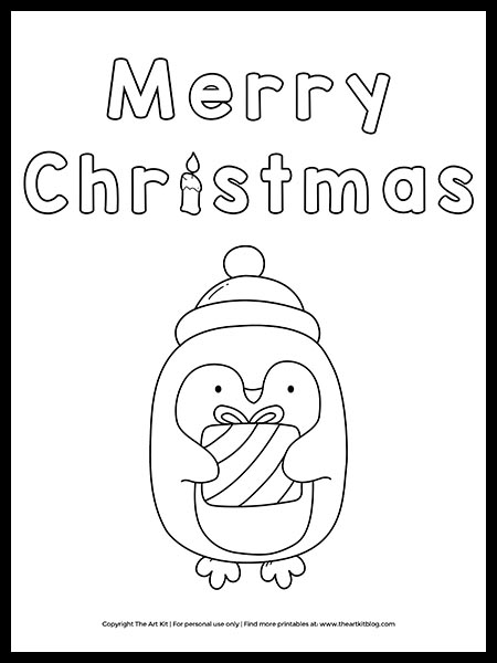 free merry christmas penguin coloring the art kit winter printable cute foods of sheep coloring pages Coloring Page Penguin