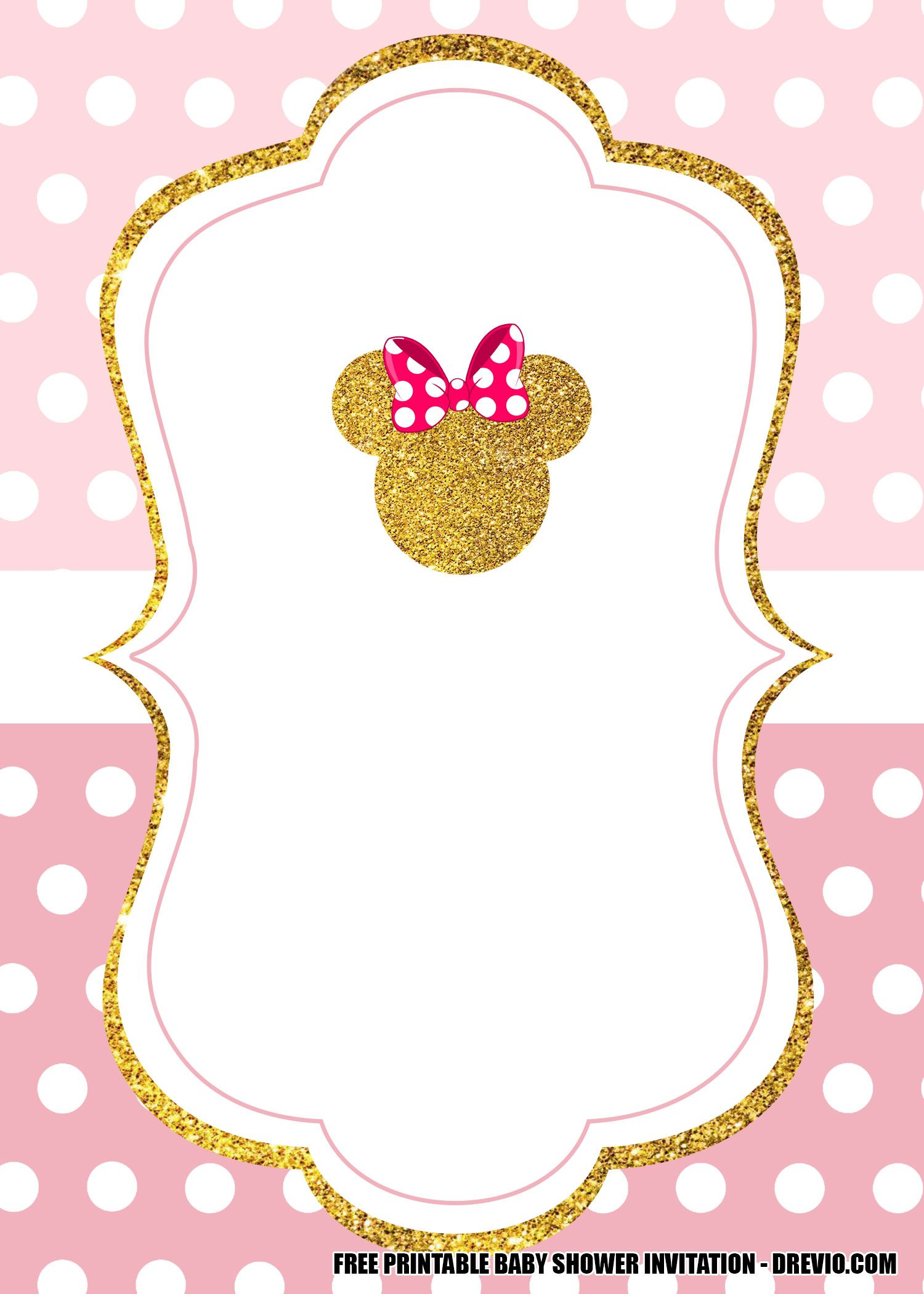 free minnie mouse pink and gold invitation templates birthday invitations printable coloring pages Free Printable Mickey Mouse Baby Shower Invitations